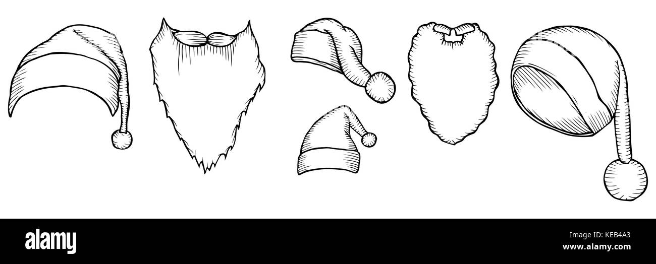 2bdcd462 Set of Santa's hats. Sketch of christmas hat, doodle style. For new year's  day, christmas. Vector large collection hand drawn illustration. Retro engr