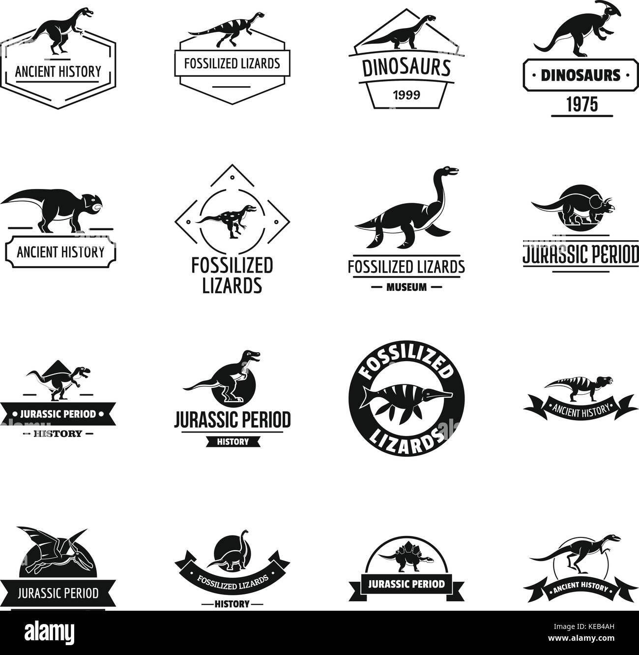 Dinosaur logo icons set, simple style - Stock Image