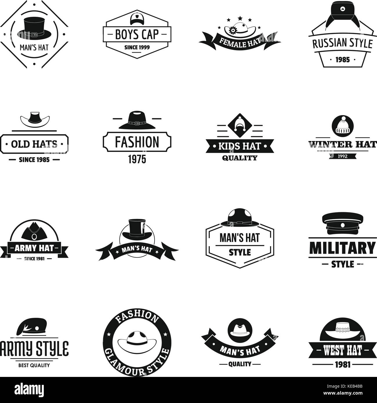 Headdress hat logo icons set, simple style - Stock Image