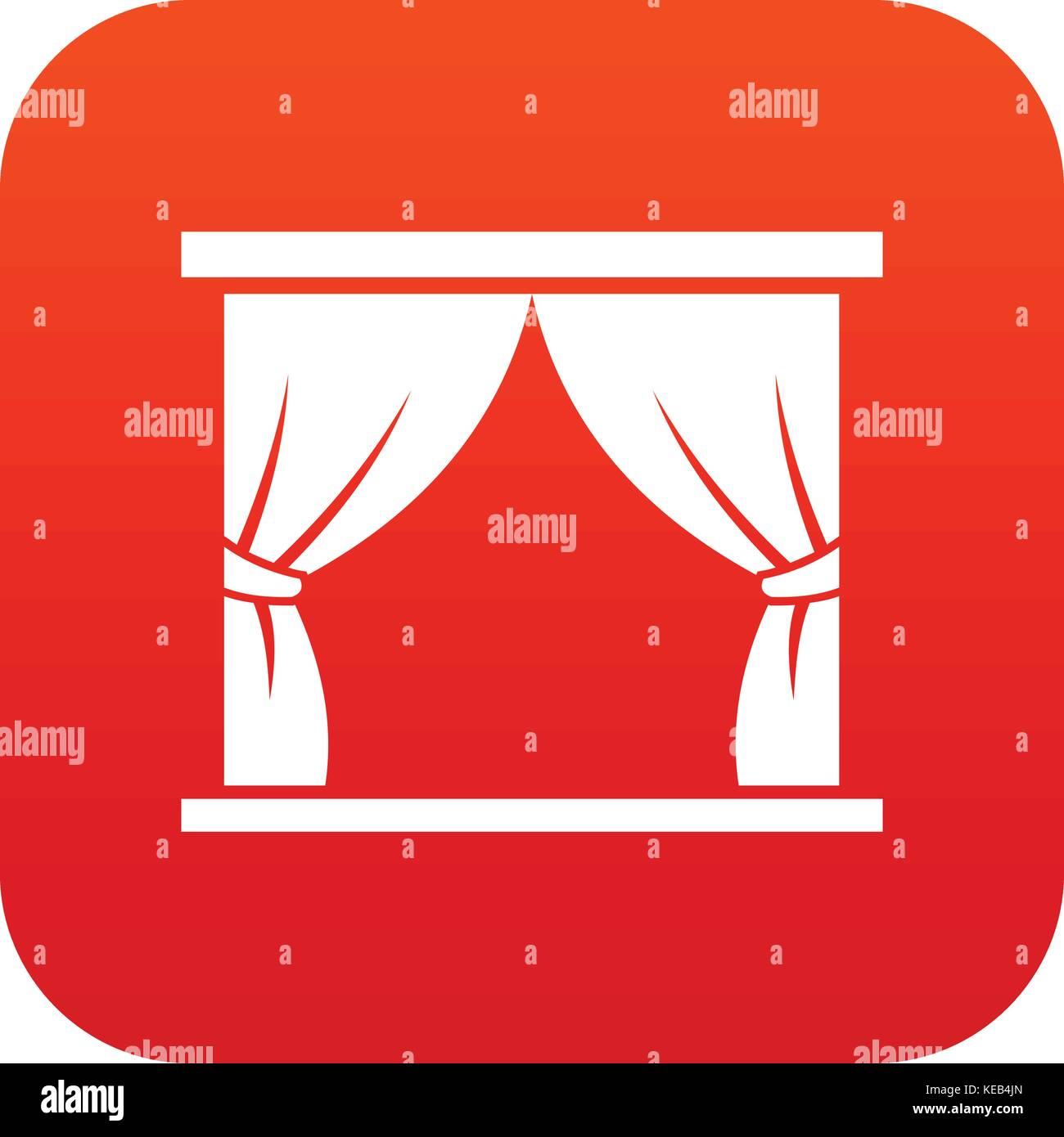 Curtain on stage icon digital red - Stock Vector