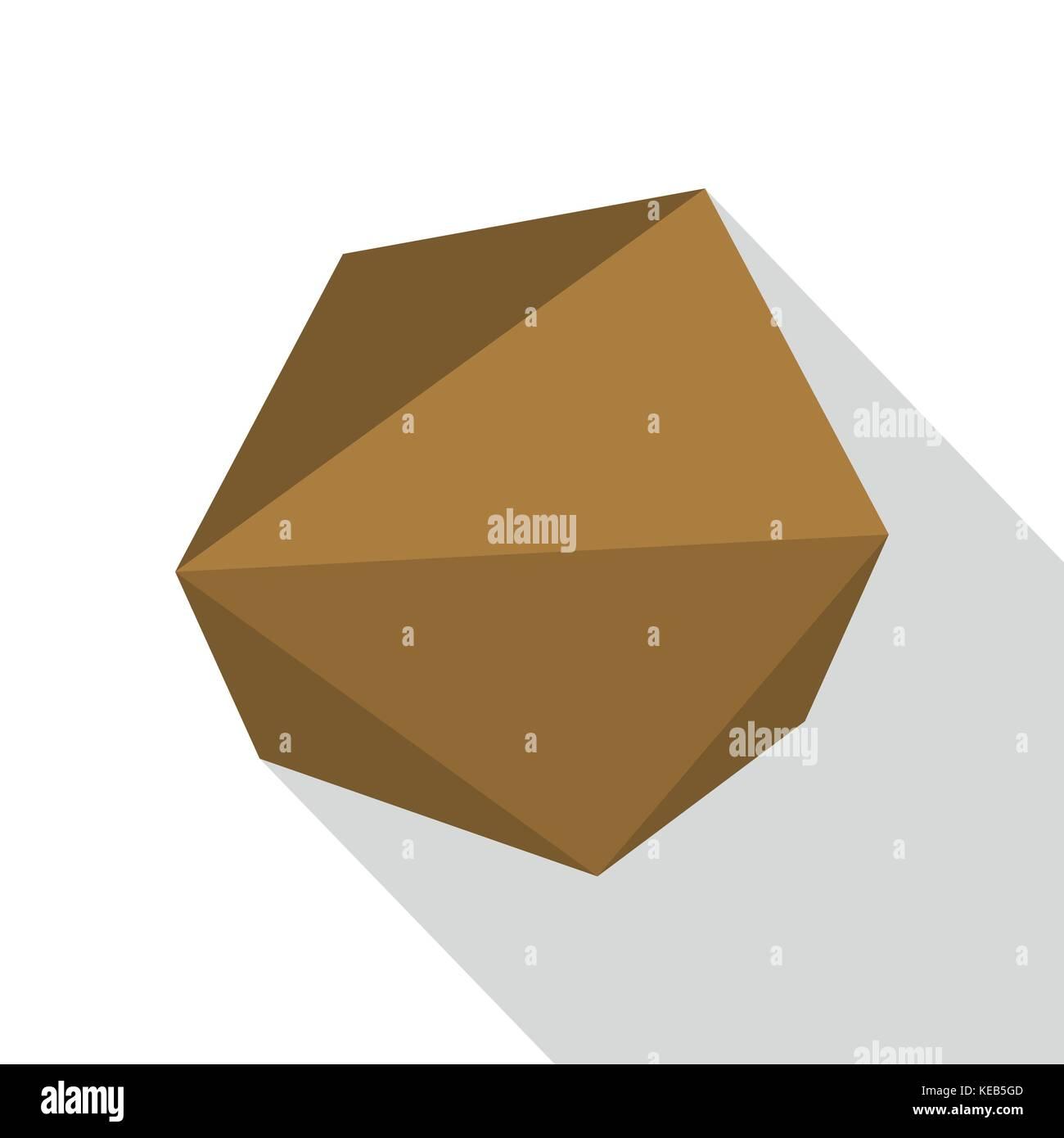 Origami stone icon, flat style - Stock Image