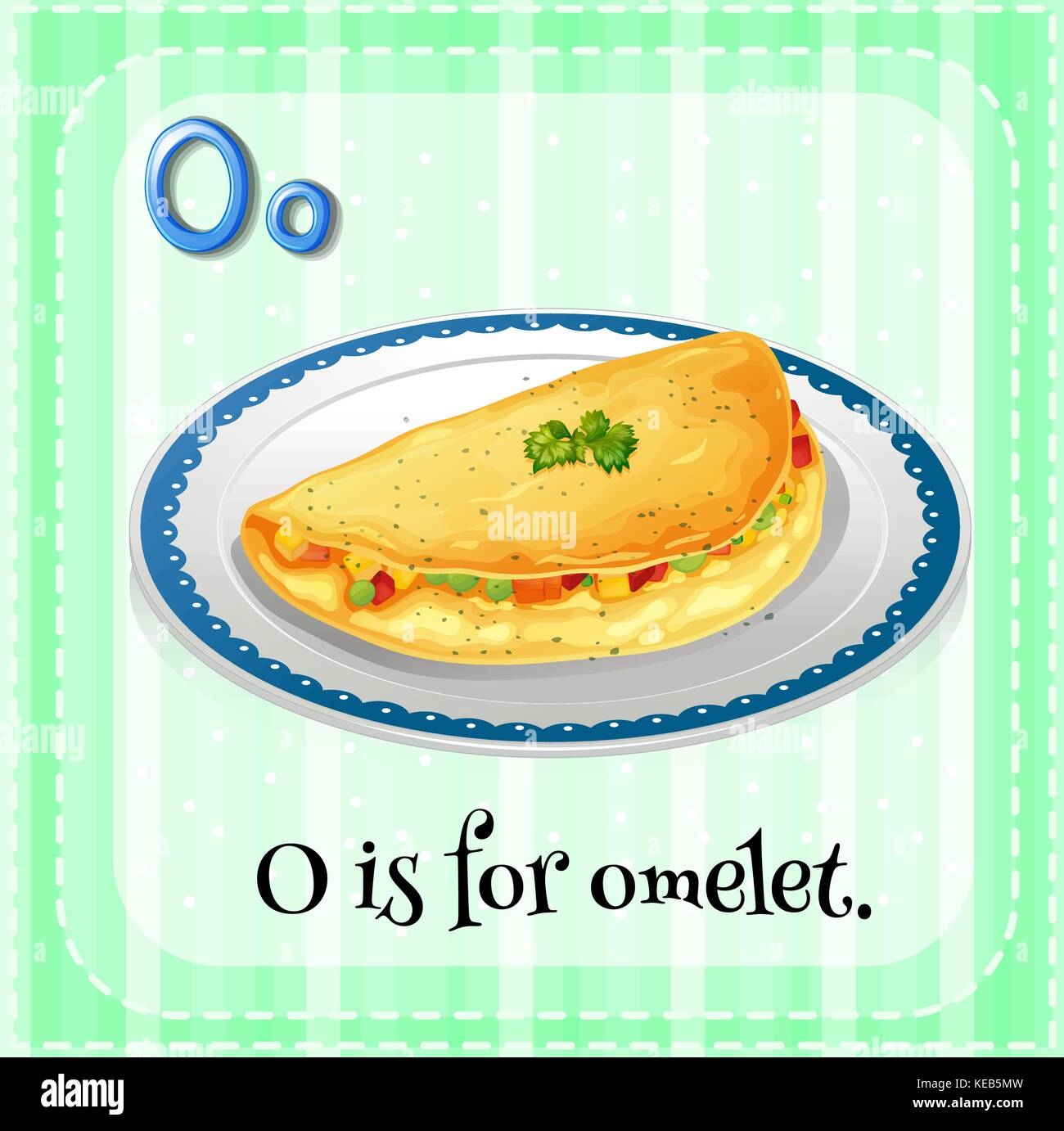English flashcard letter O is for omelet - Stock Vector