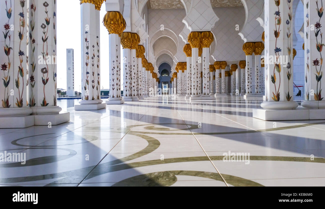 Exterior and inside view of the Abu Dhabi's Mosque - Sheikh Zayed Mosque, December 21st 2015. - Stock Image
