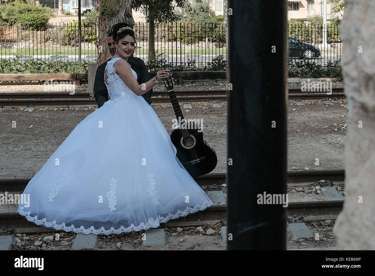 A bride and groom take pre wedding photos at the Rail Heritage Museum. During the 400 years of the Ottoman rule - Stock Image