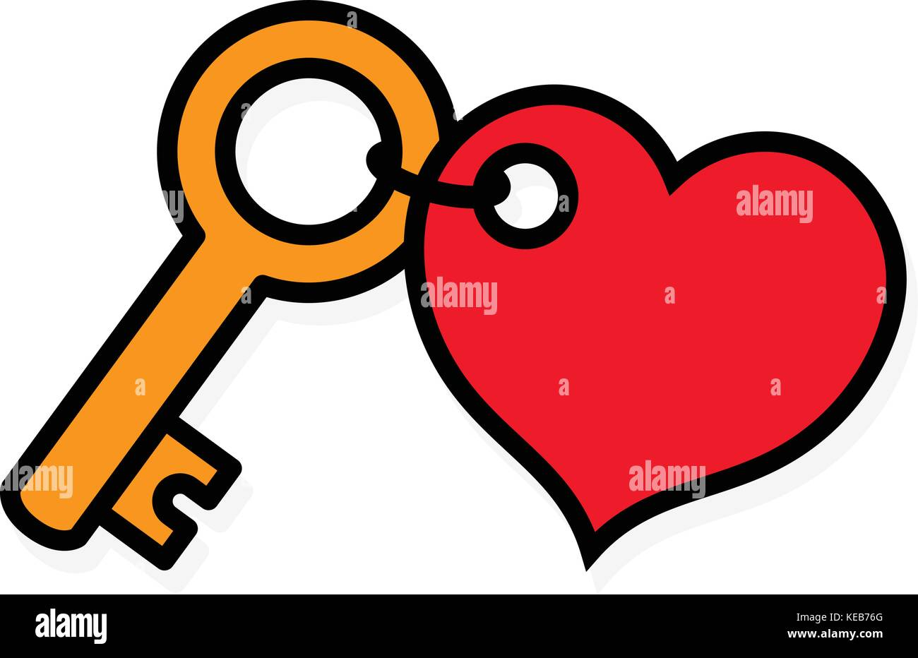 Key Icon With Blank Red Heart Tag On Key Ring Vector Illustration