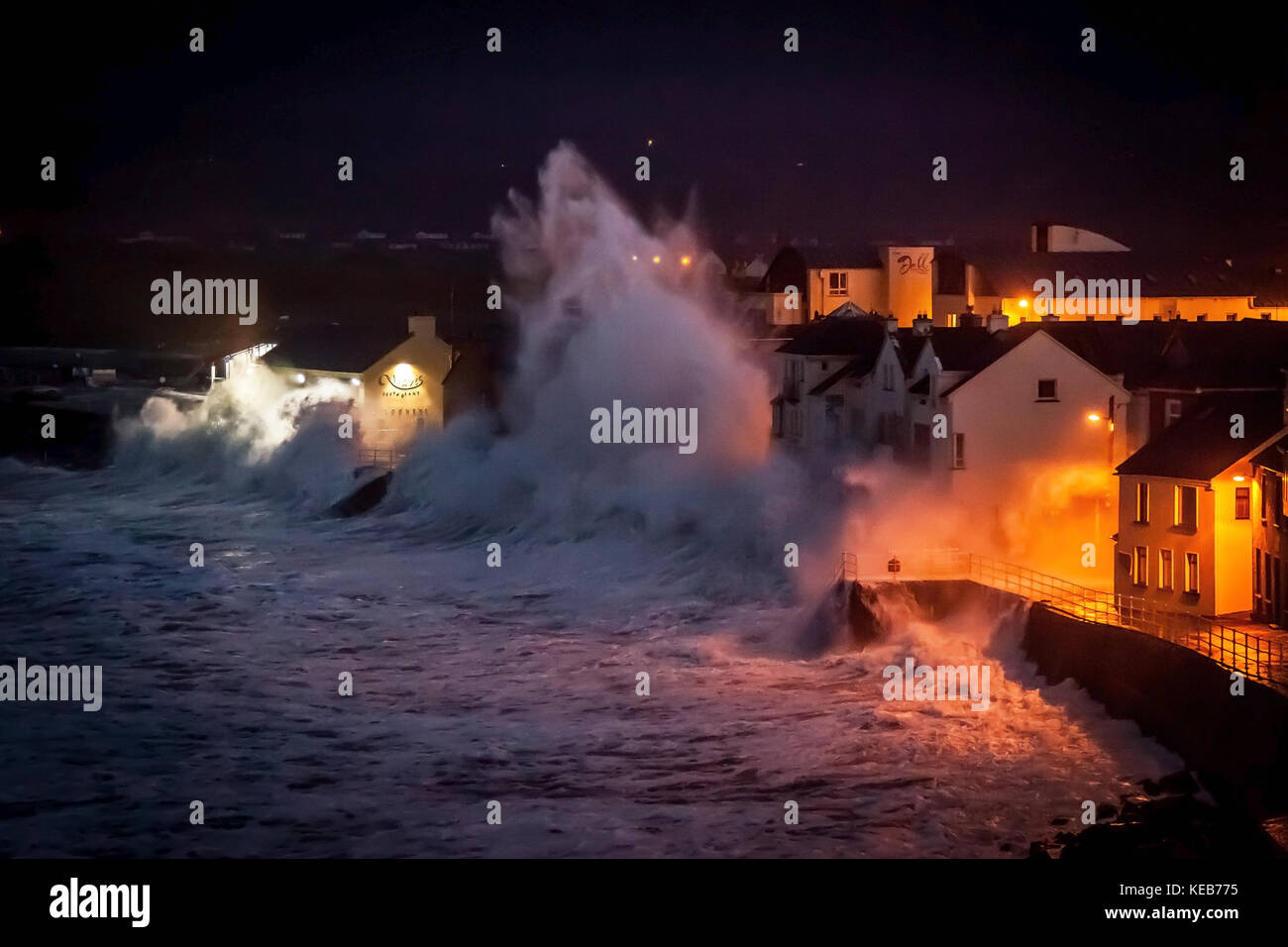 Monster waves crashing on buildings during the 2014 January storm in Ireland - Stock Image