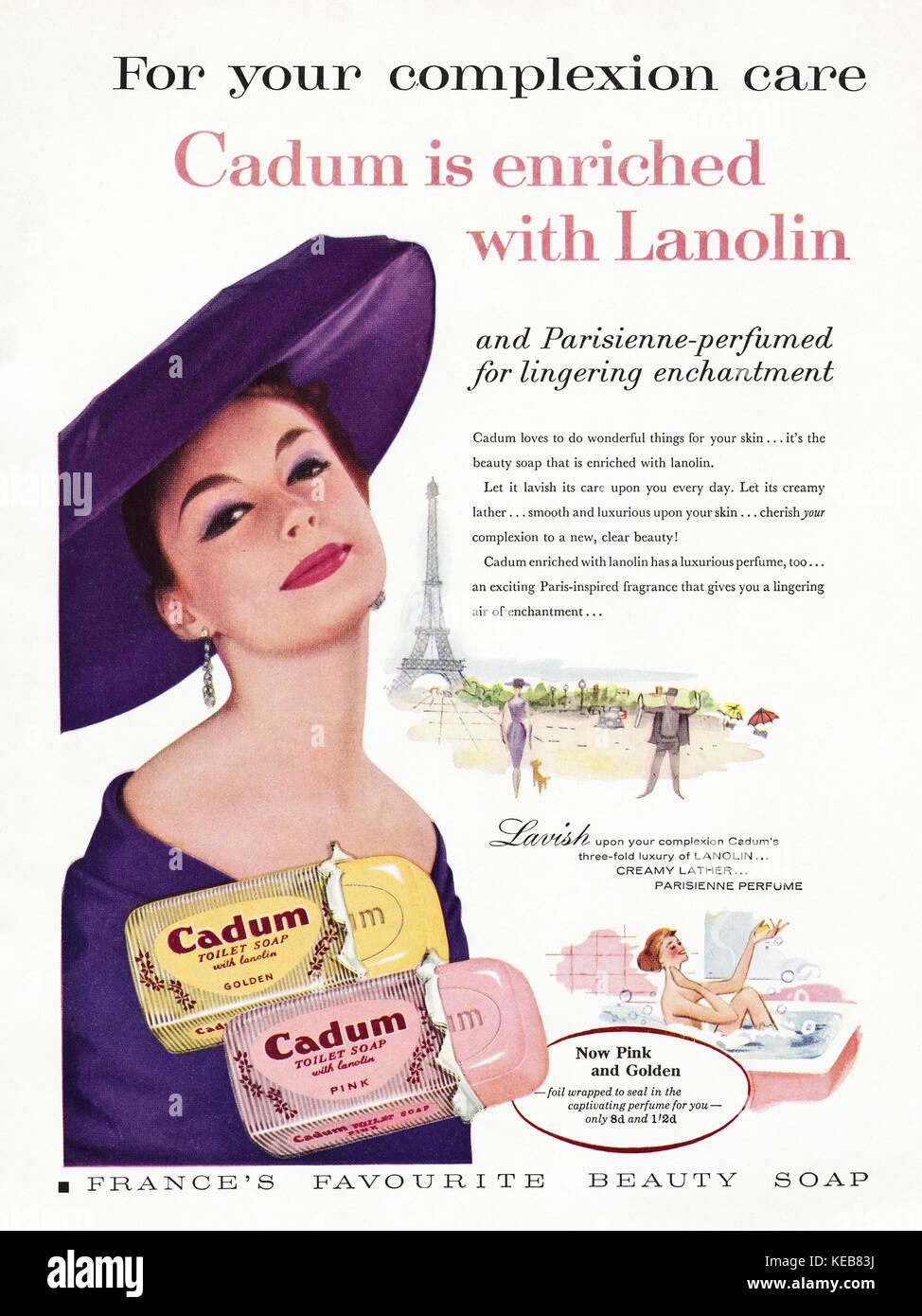 1950s advert old vintage original british magazine advertisement advertising Cadum Toilet Soap dated 1958 - Stock Image