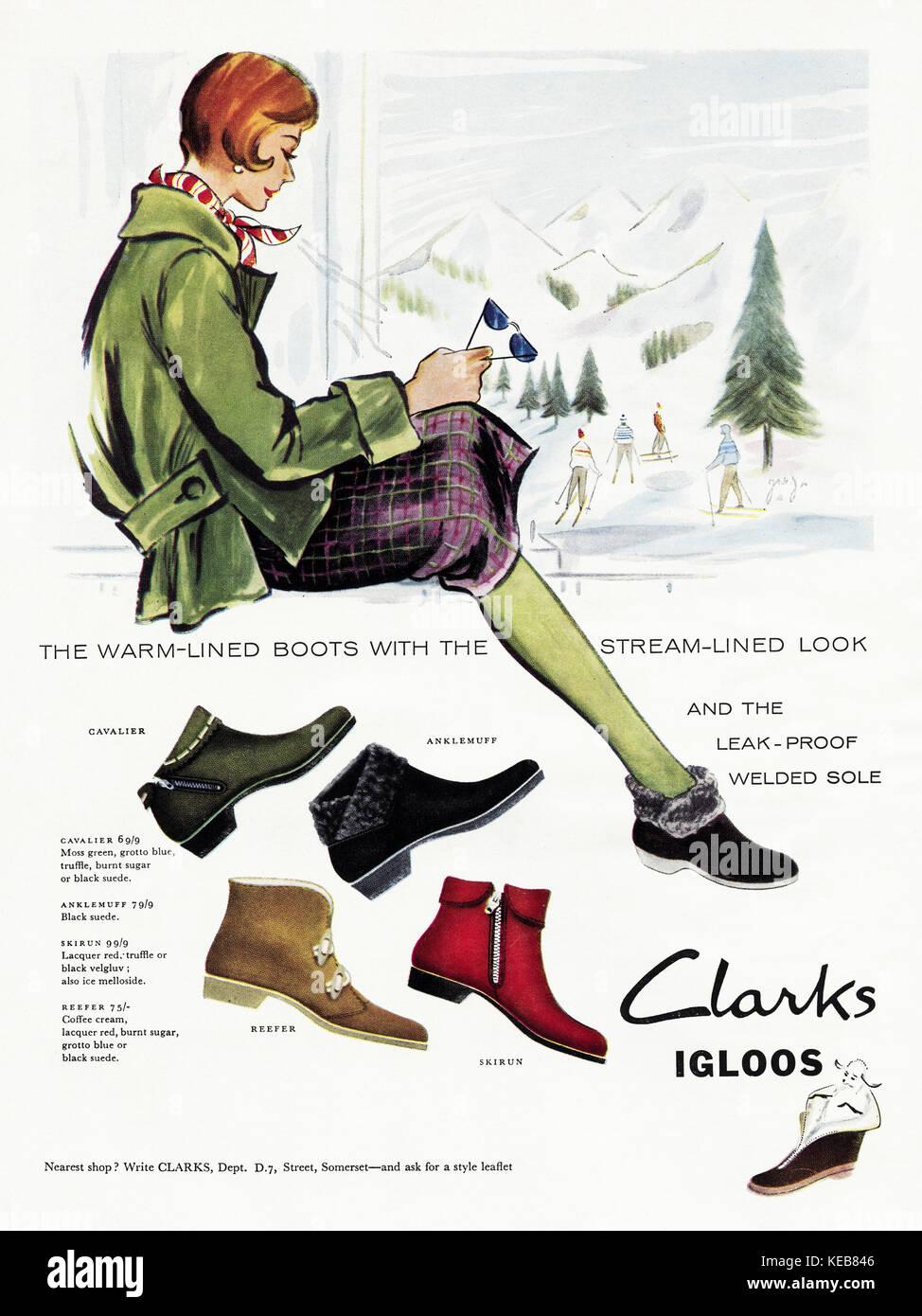 1950s advert old vintage original british magazine advertisement advertising Clarks Igloo boots dated 1958 - Stock Image