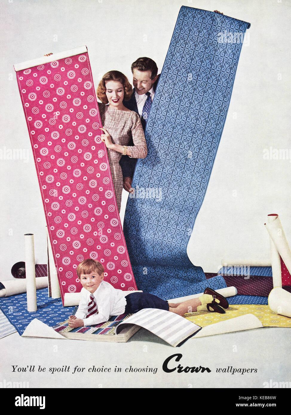1950s advert old vintage original british magazine advertisement advertising Crown Wallpaper dated 1958 - Stock Image