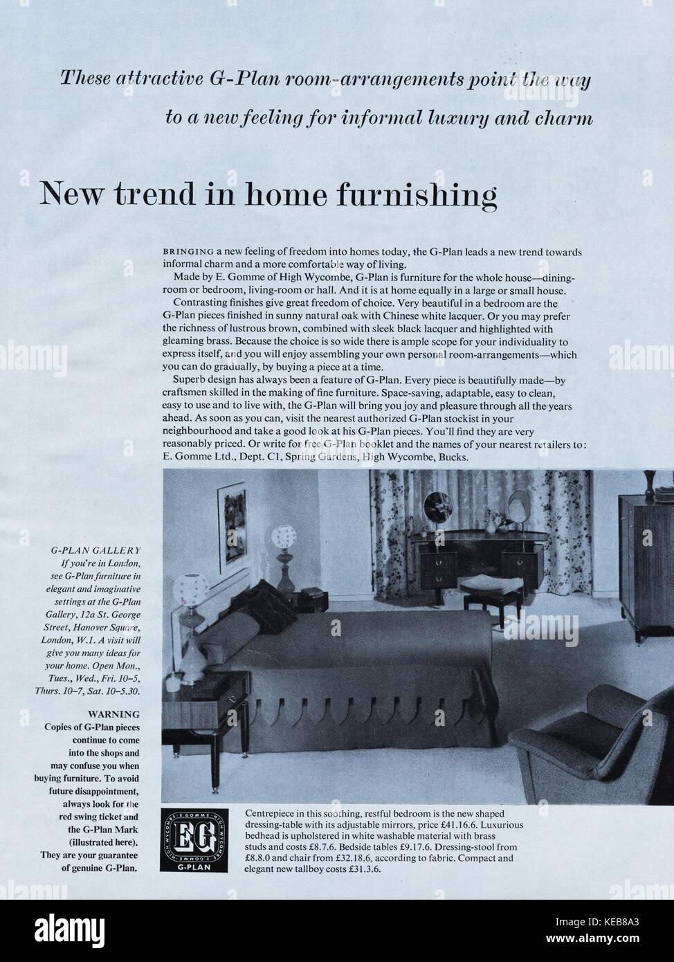 1950s advert old vintage original british magazine advertisement advertising G-Plan furniture dated 1958 - Stock Image