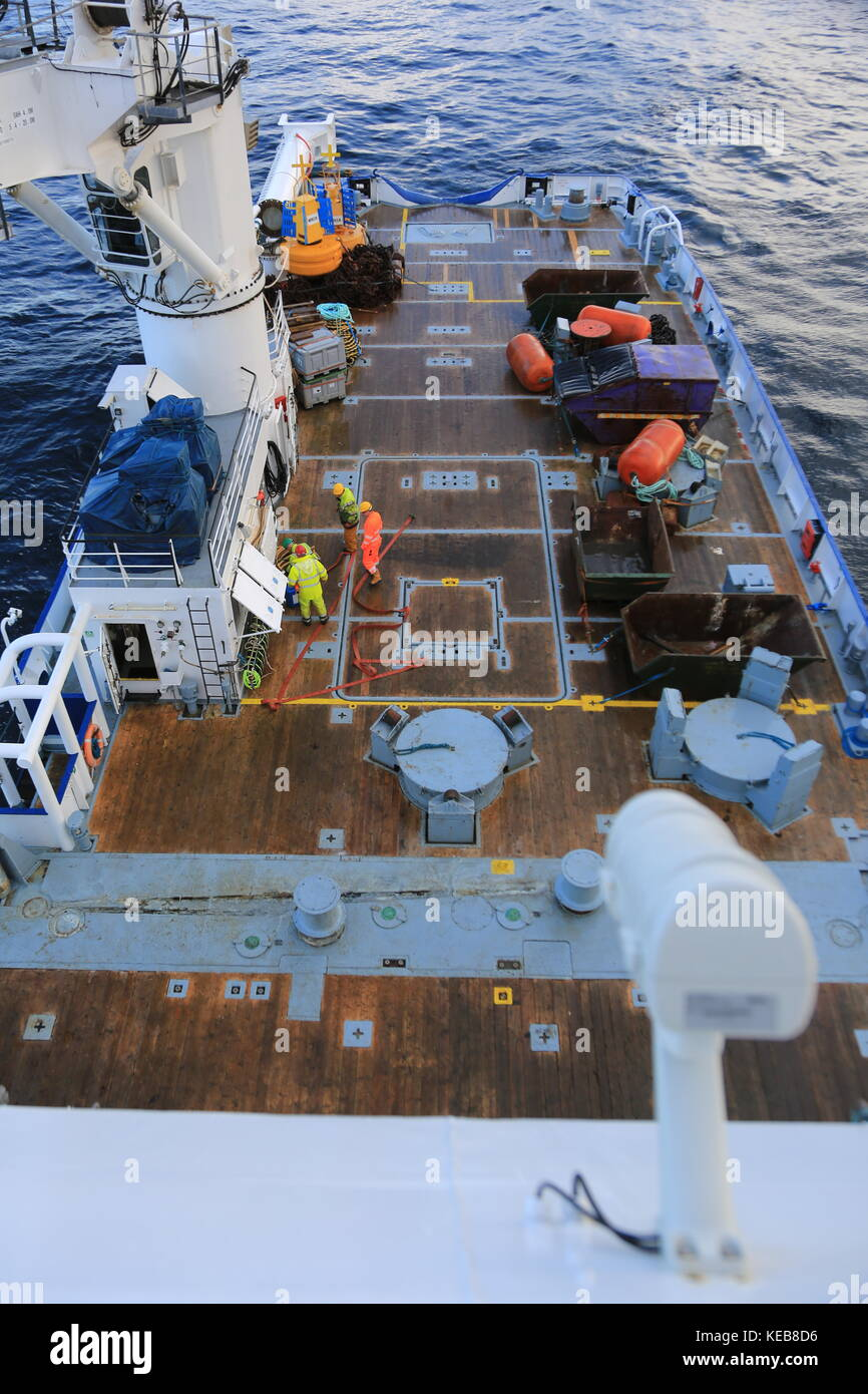 Deck of a Large sea vessel Stock Photo