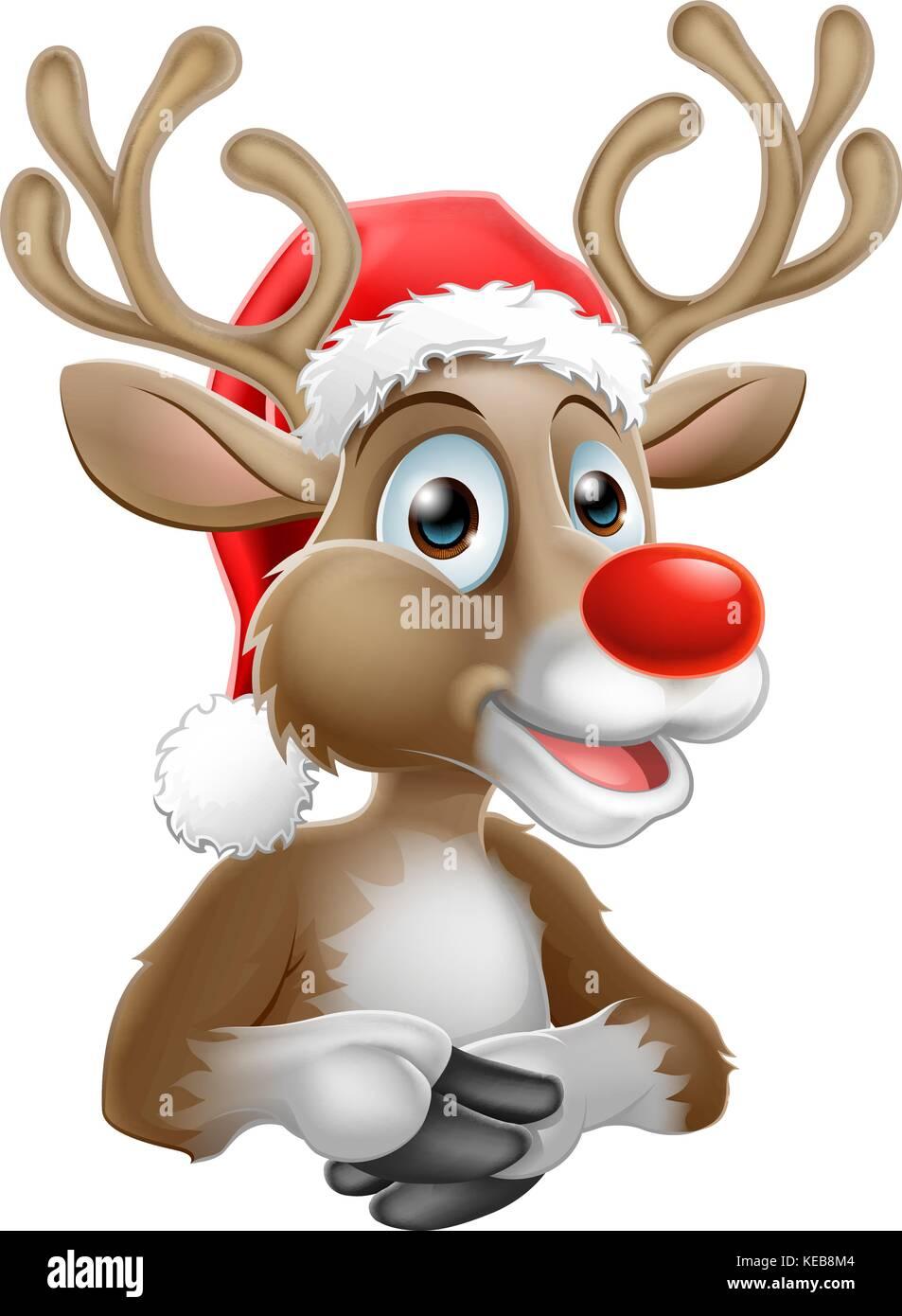 Cartoon Reindeer With Christmas Santa Hat - Stock Image