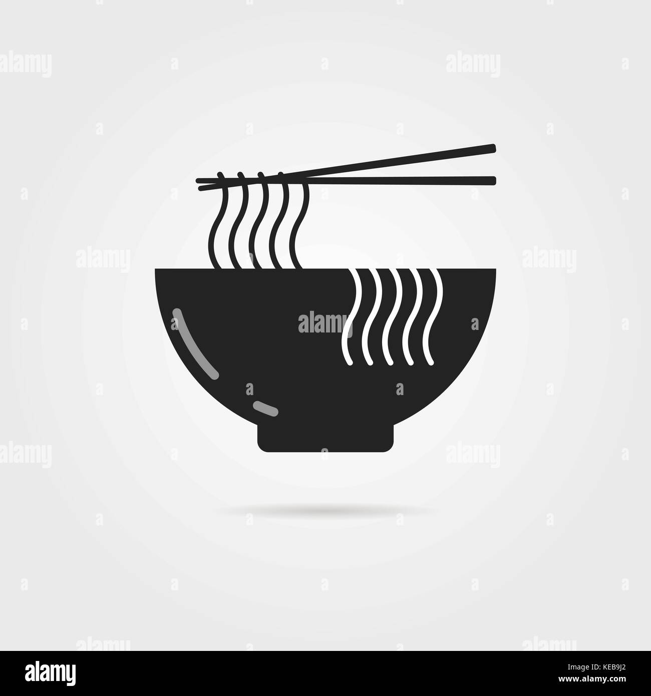 black bowl icon with chinese noodles and shadow - Stock Image