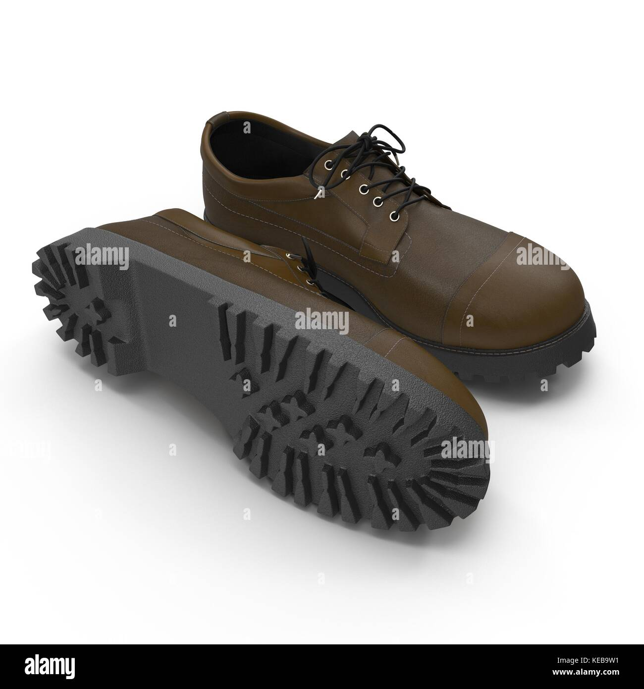 Hiking boots on the white. 3D Illustration Stock Photo