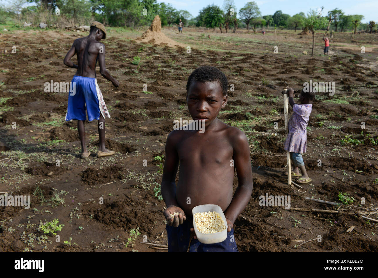 MOZAMBIQUE, Moatize, the village Chipanga was resettled by VALE coal mining, a brazil company, the new settlement Stock Photo