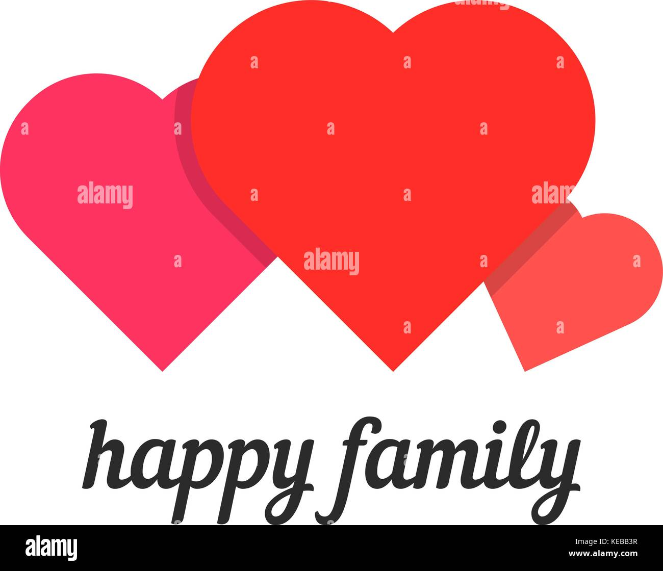 happy family with three hearts - Stock Vector