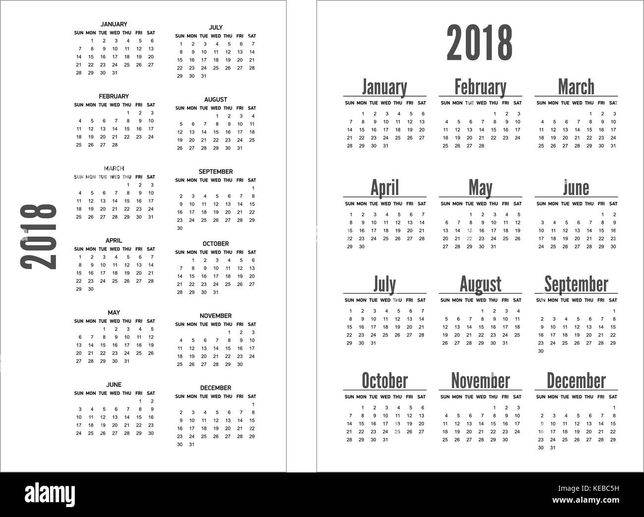 Simple black and white pocket calendar years. - Stock Image
