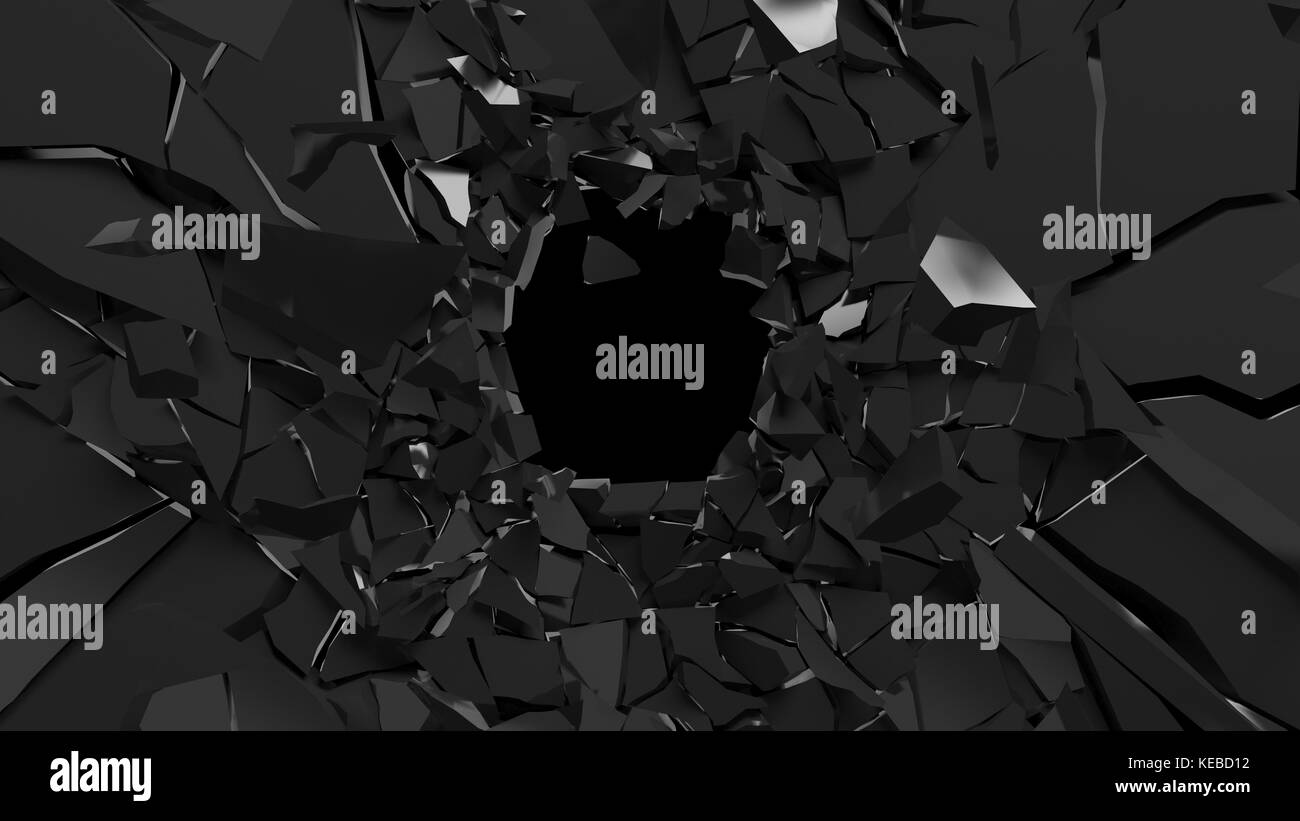 Abstract 3d rendering of shattered black surface. destructed wall. - Stock Image