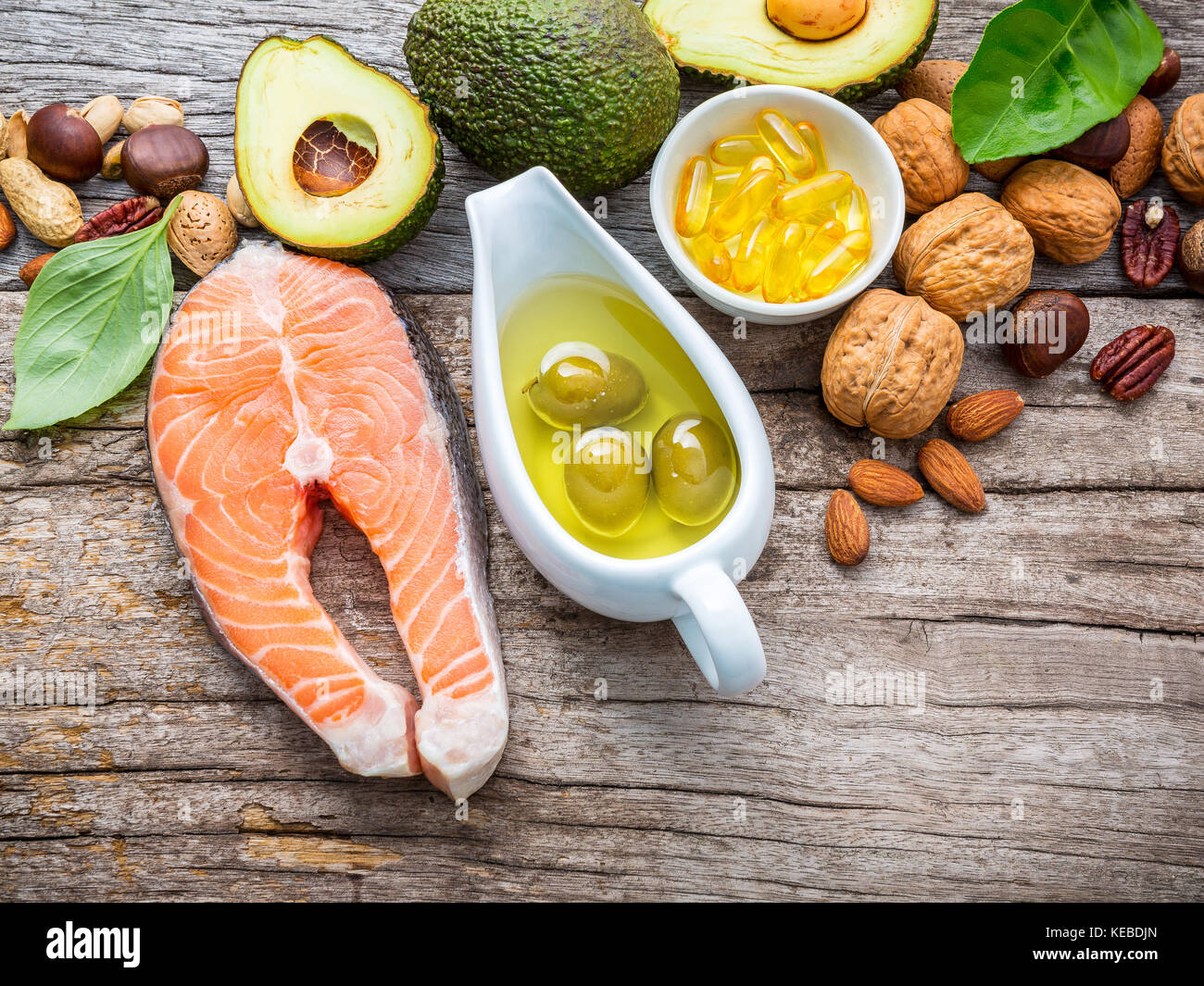 Selection food sources of omega 3 and unsaturated fats. Superfood high vitamin e and dietary fiber for healthy food. - Stock Image