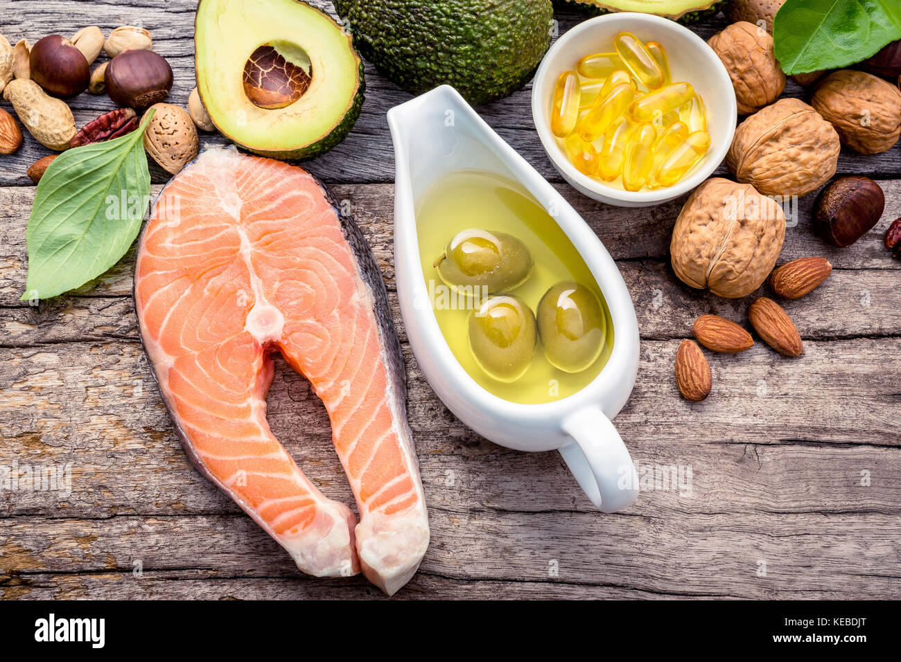 Selection food sources of omega 3 and unsaturated fats. Superfood high vitamin e and dietary fiber for healthy food. Stock Photo