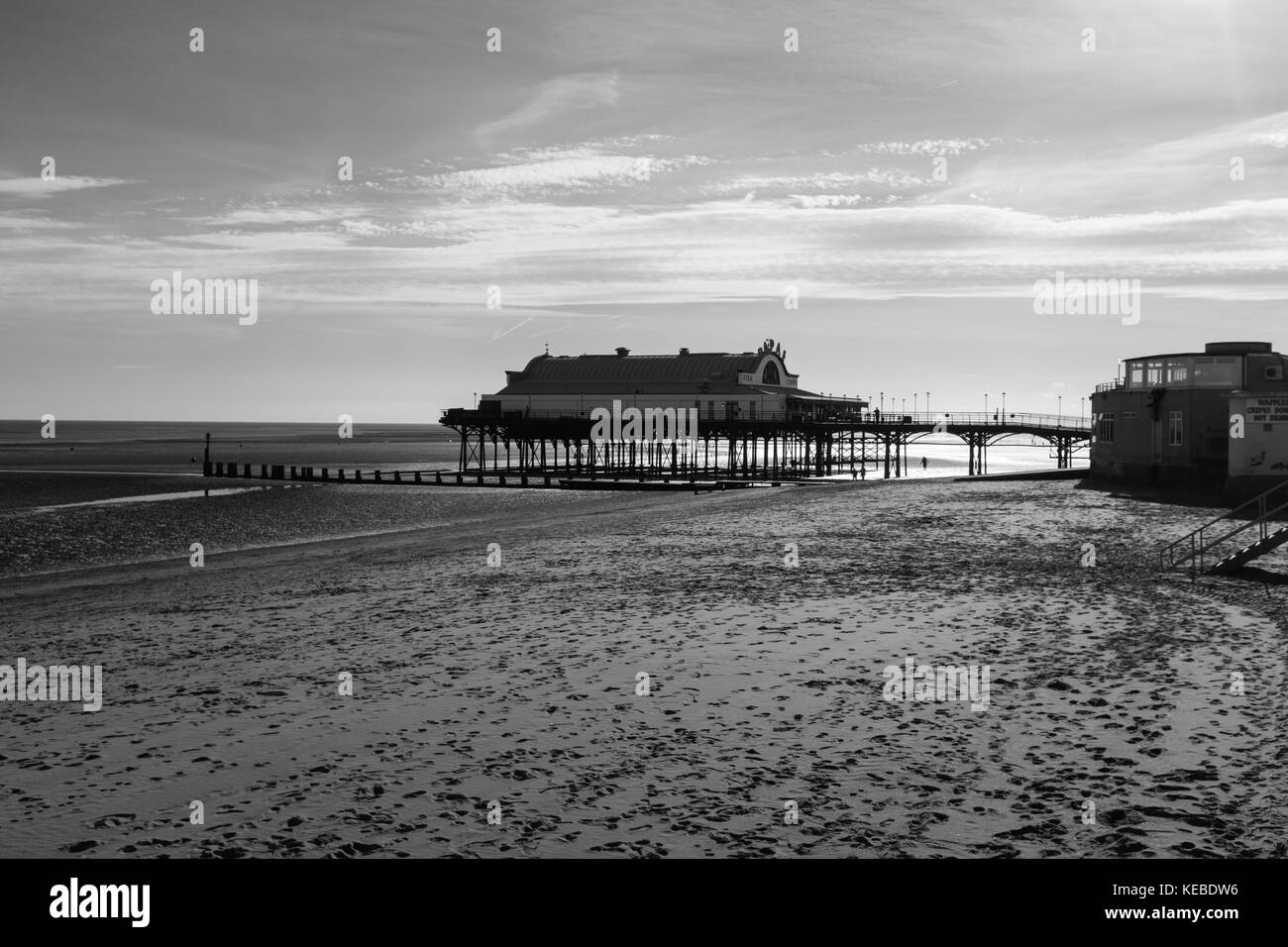 Cleethorpes Pier seen from a distance shot in black and white. - Stock Image