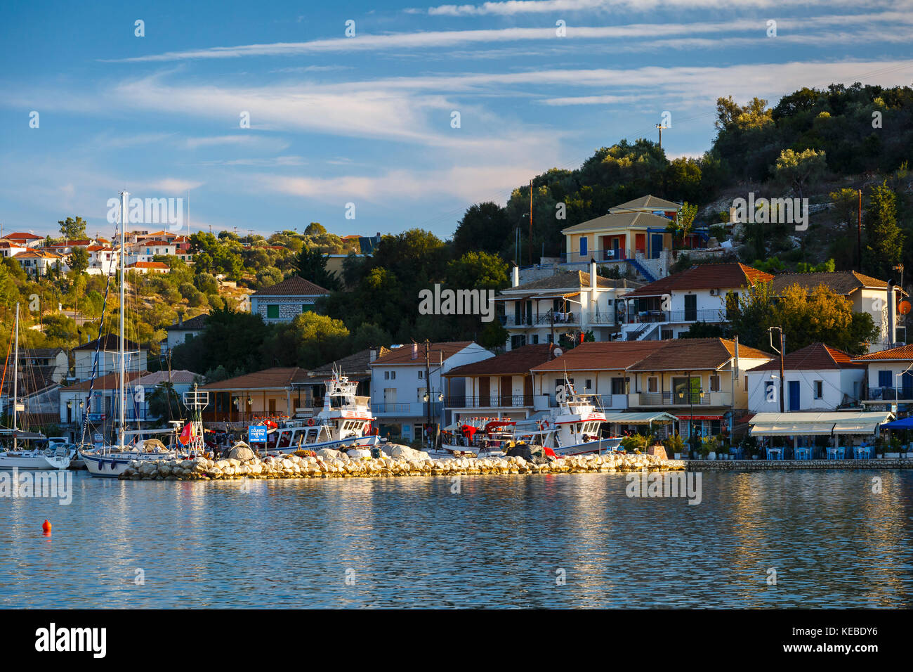 View of the Vathy harbur on Meganisi island, Greece. - Stock Image