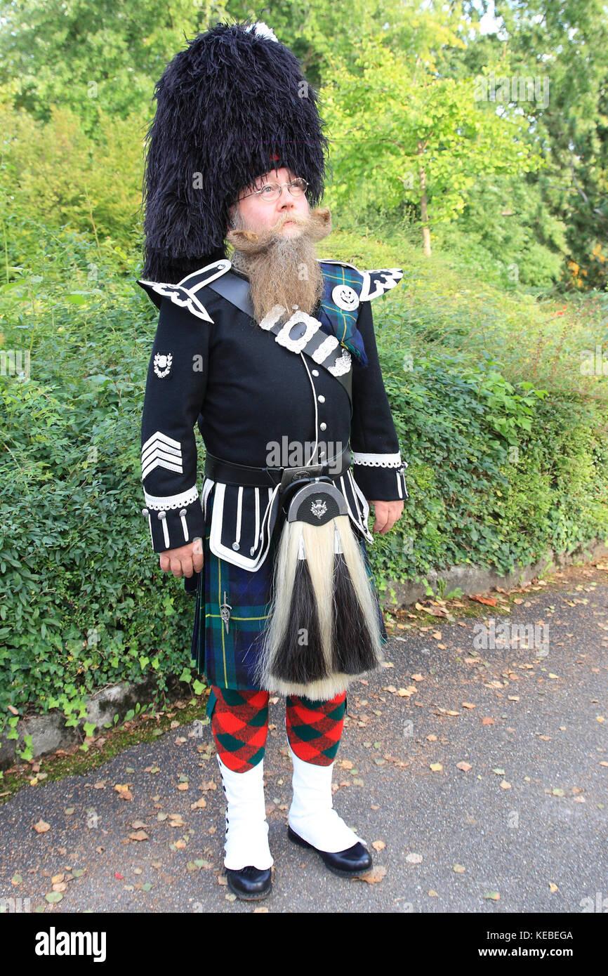 Mann mit langem Bart, Schotte in Kildt und Fulldress - Stock Image
