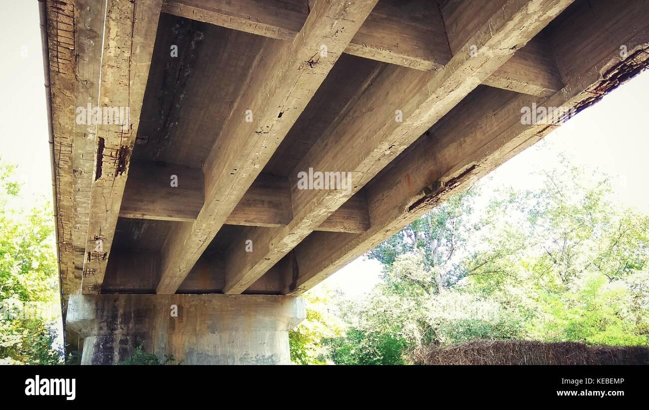 Under the concrete bridge - Stock Image