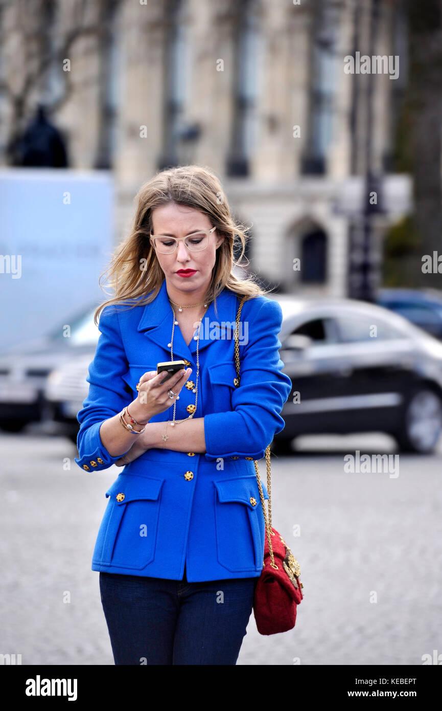 Ksenia Sobchak, Paris Fashion Week, France - Stock Image