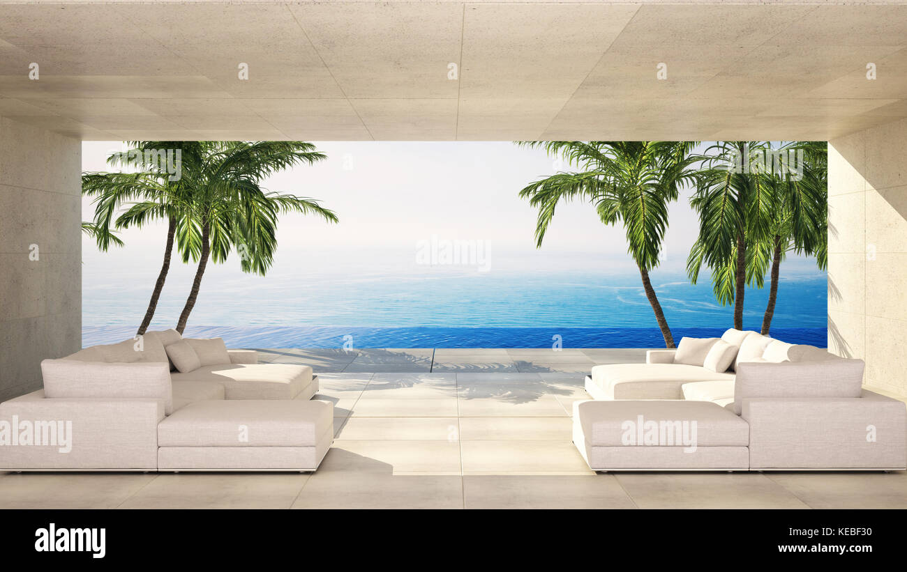 Luxury modern living area in a tropical villa with white lounge site ...