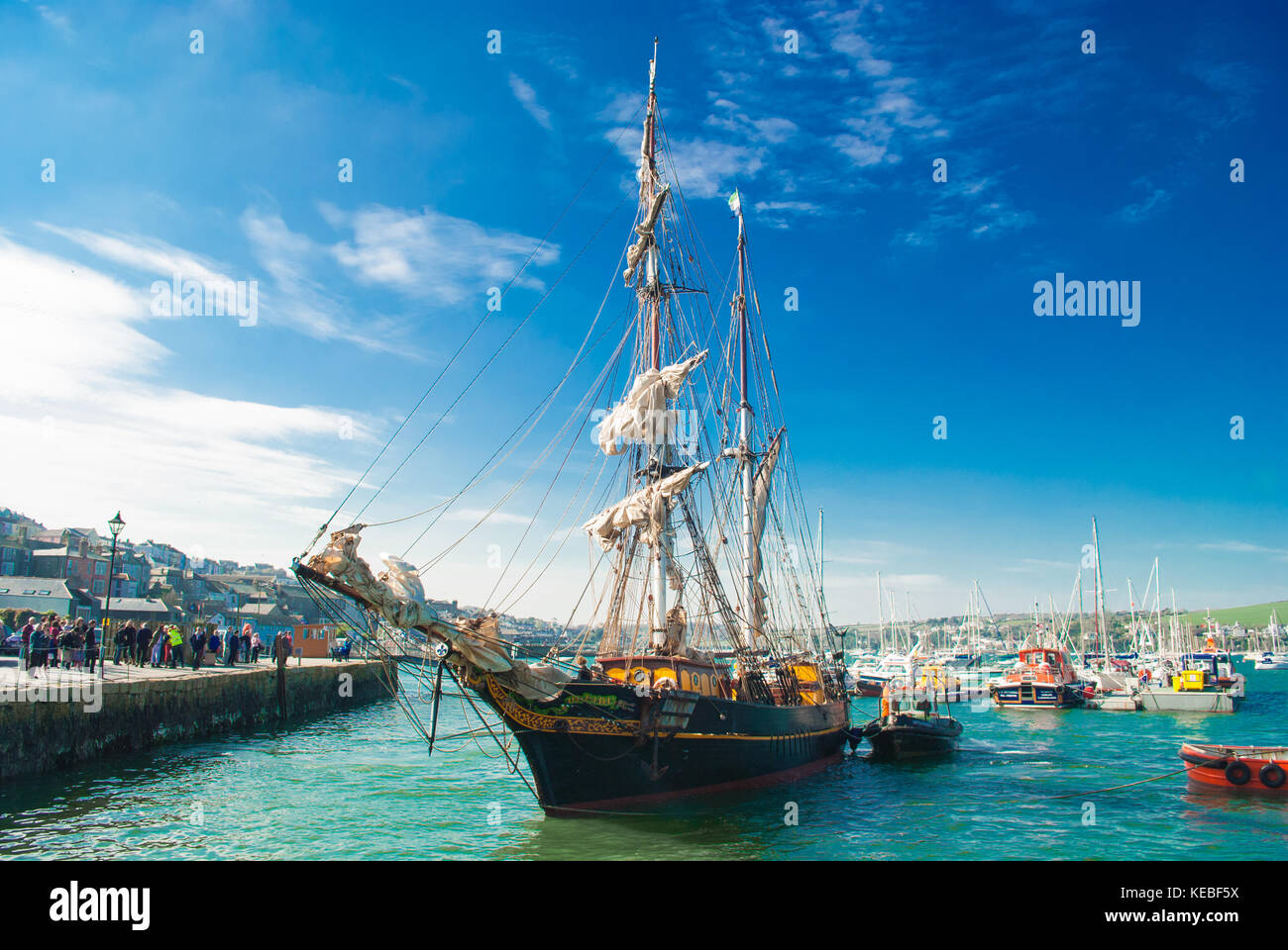 The Tres Hombres is a 32 Meter Schooner which transports fairtrade goods by windpower only. - Stock Image
