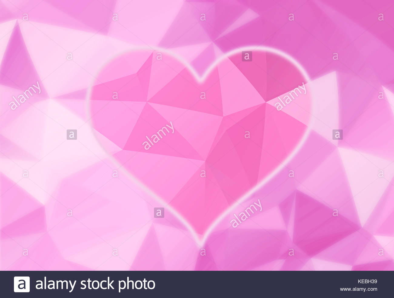 Artistic bright pink color heart love symbol on abstract blurred puprle triangle background illustration. - Stock Image