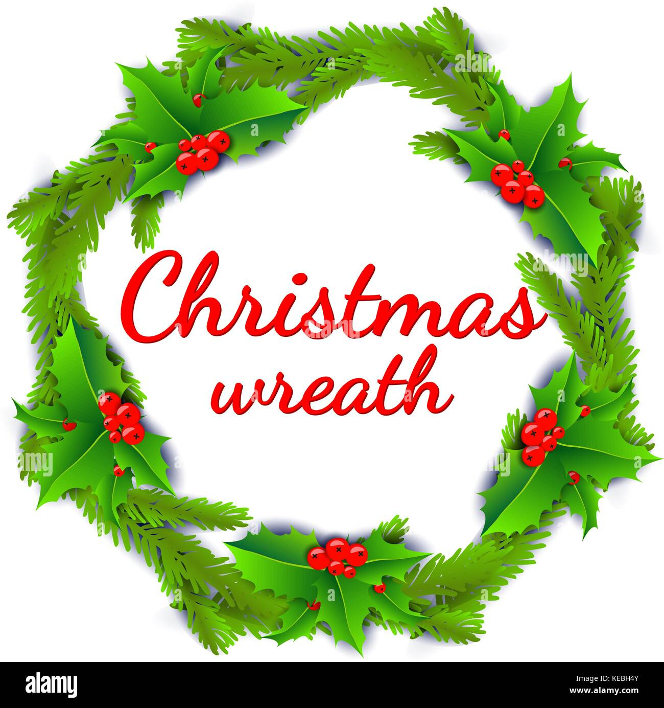 Christmas wreath poster with holly berries and christmas tree branches isolated on white background. - Stock Vector