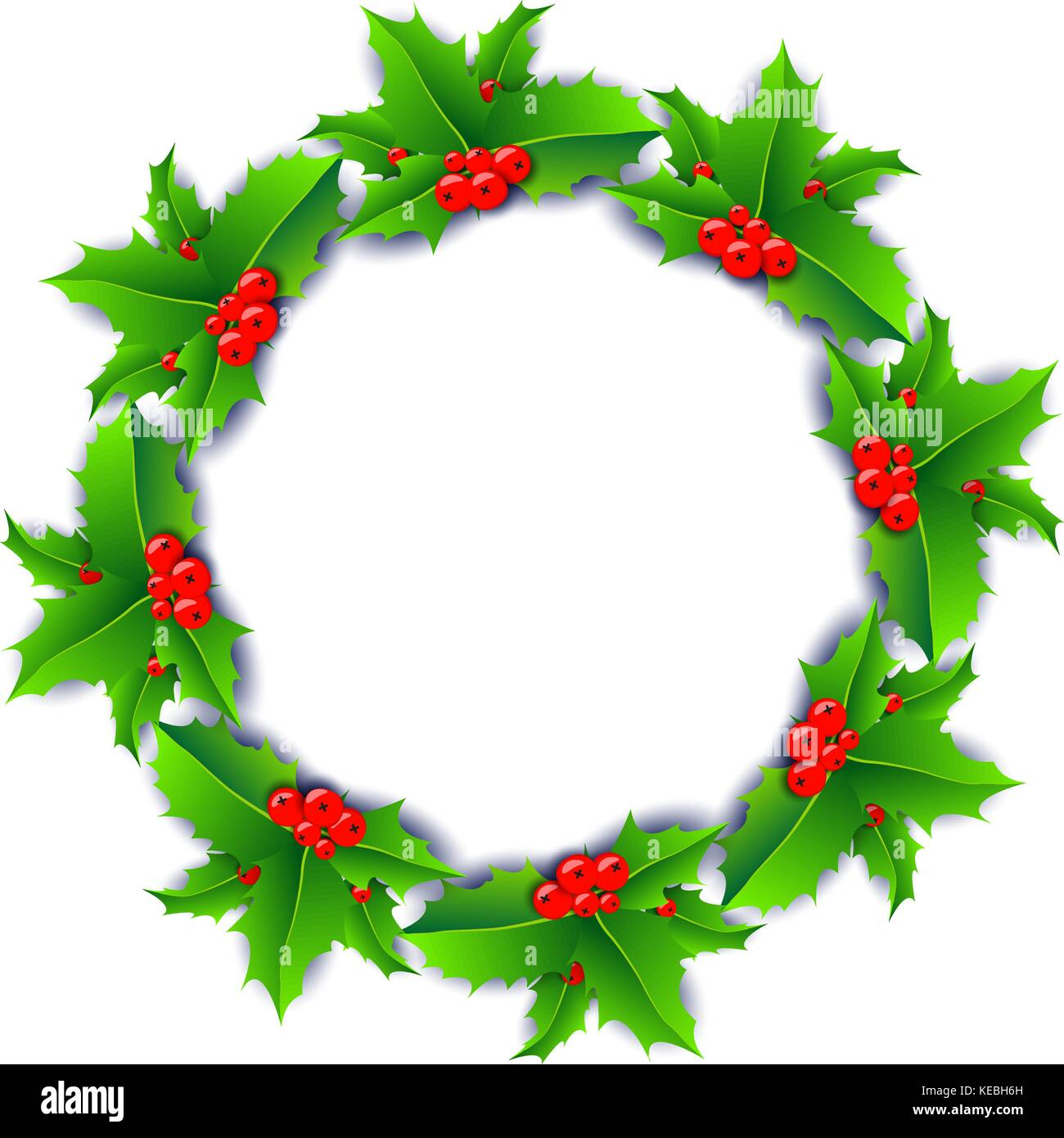 Christmas wreath poster with holly berries isolated on white background. - Stock Vector