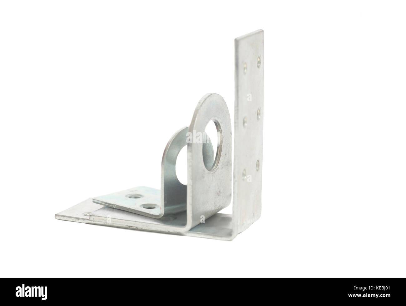 Metal corner bracket isolated on a white background - Stock Image