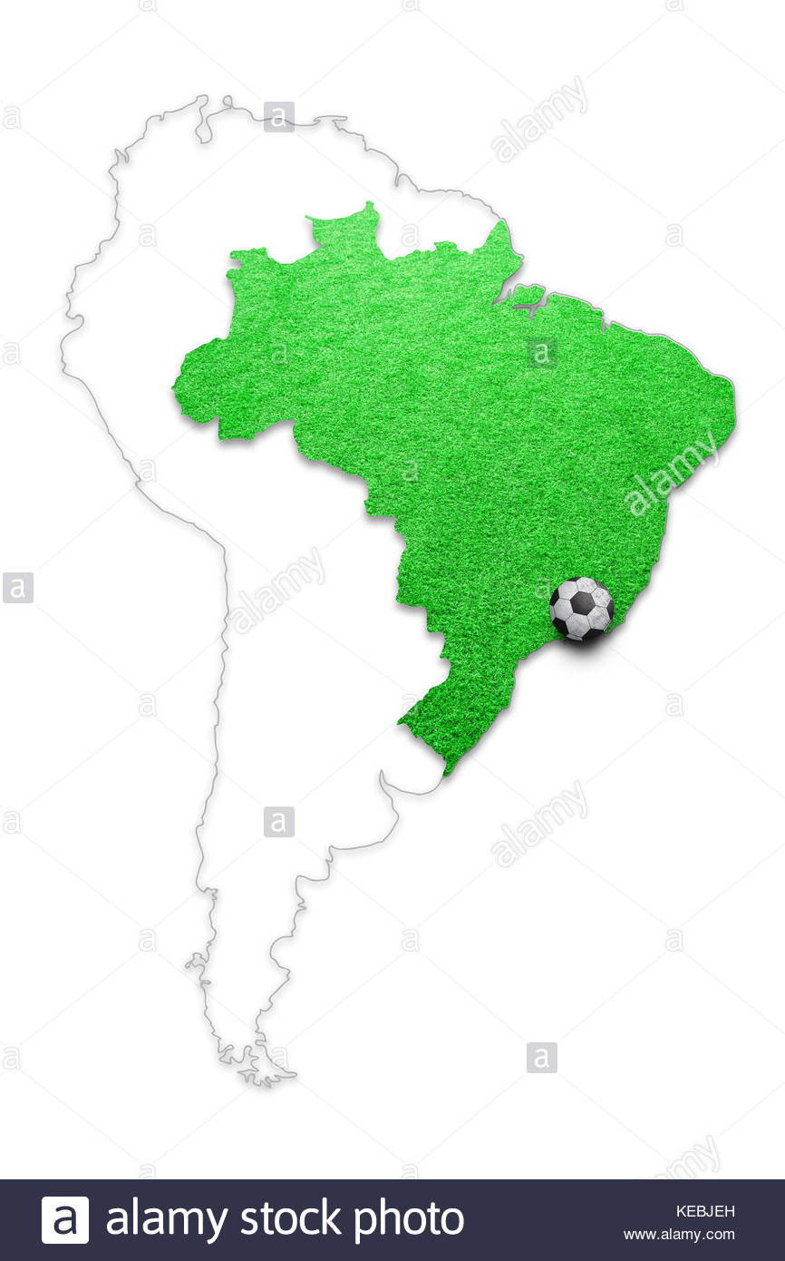 ef3f5d09a Soccer grass playground Brazil country map with soccer ball isolated on  white. Brazil map football field with soccer ball copy space illustration  back
