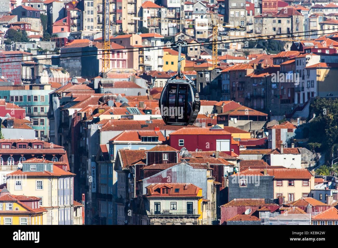 Teleférico de Gaia, cable car in Porto, Portugal - Stock Image