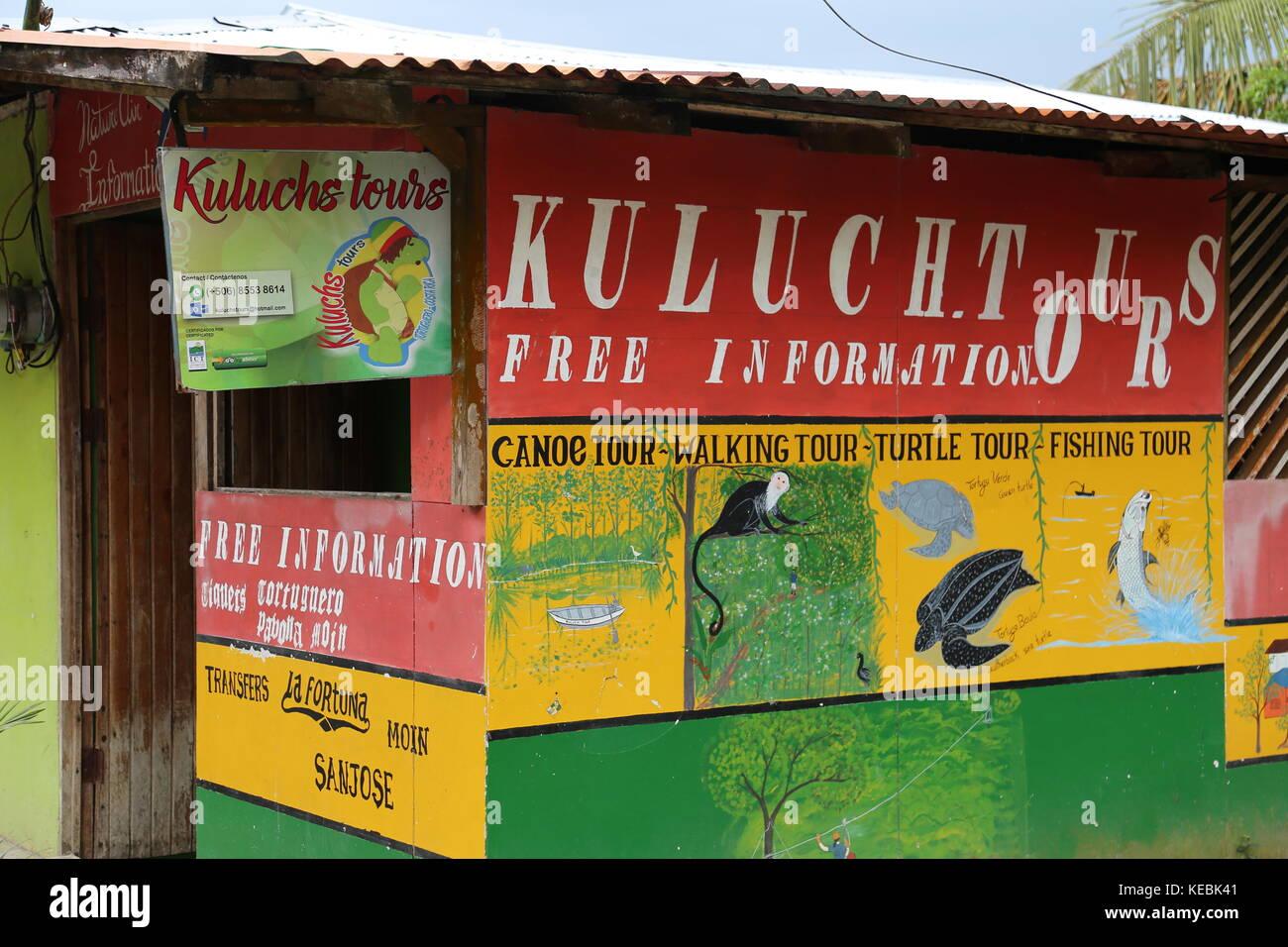 Kuluch's Tours, Tortuguero village centre, Limón province, Caribbean Sea, Costa Rica, Central America - Stock Image
