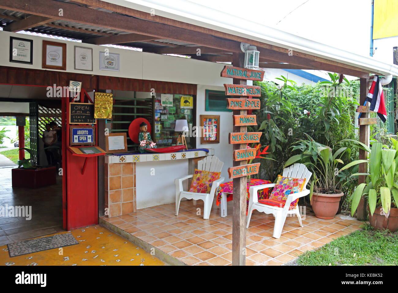 Budda Café, Tortuguero village centre, Limón province, Caribbean Sea, Costa Rica, Central America - Stock Image