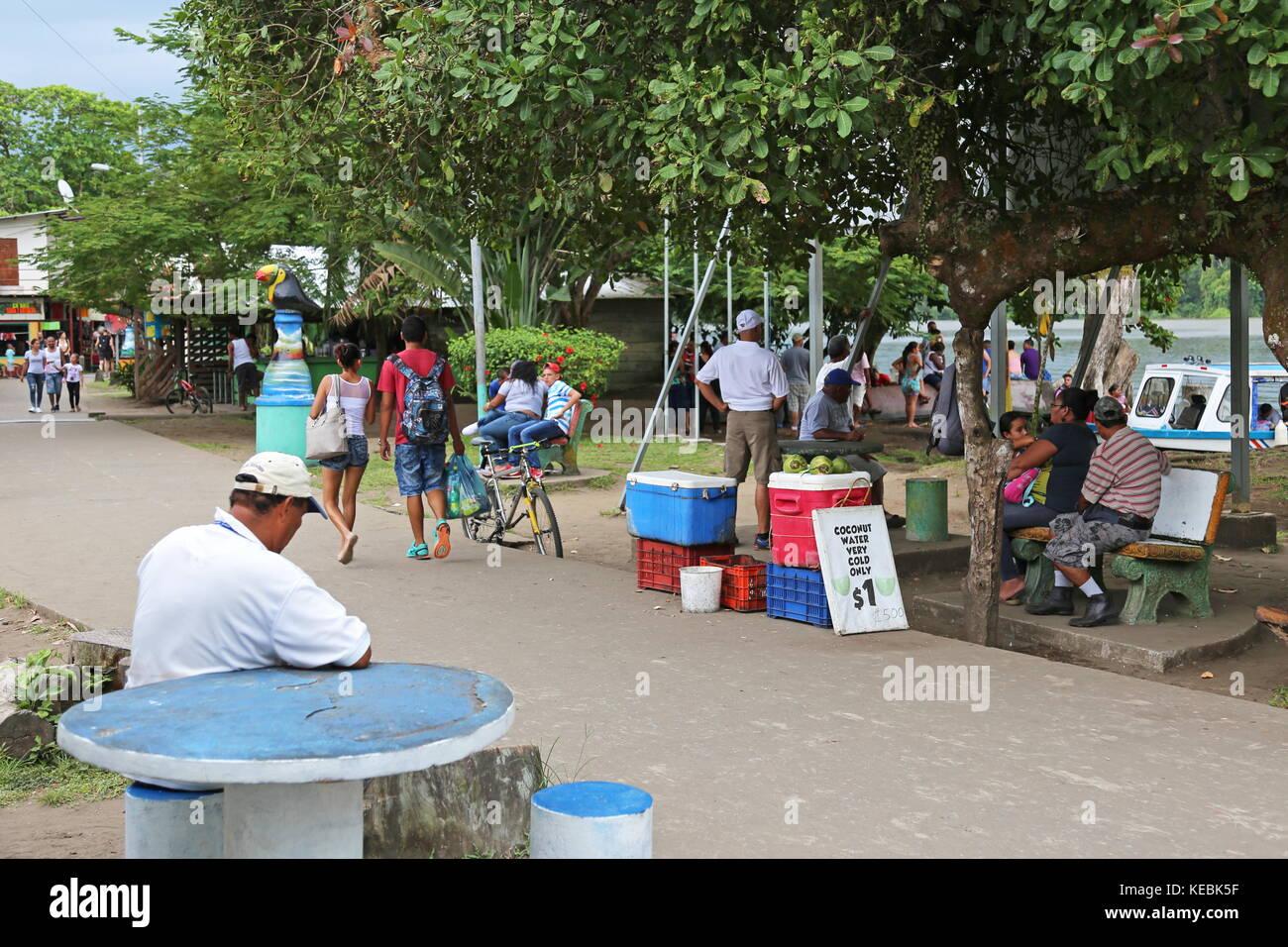 Tortuguero village centre, Limón province, Caribbean Sea, Costa Rica, Central America - Stock Image