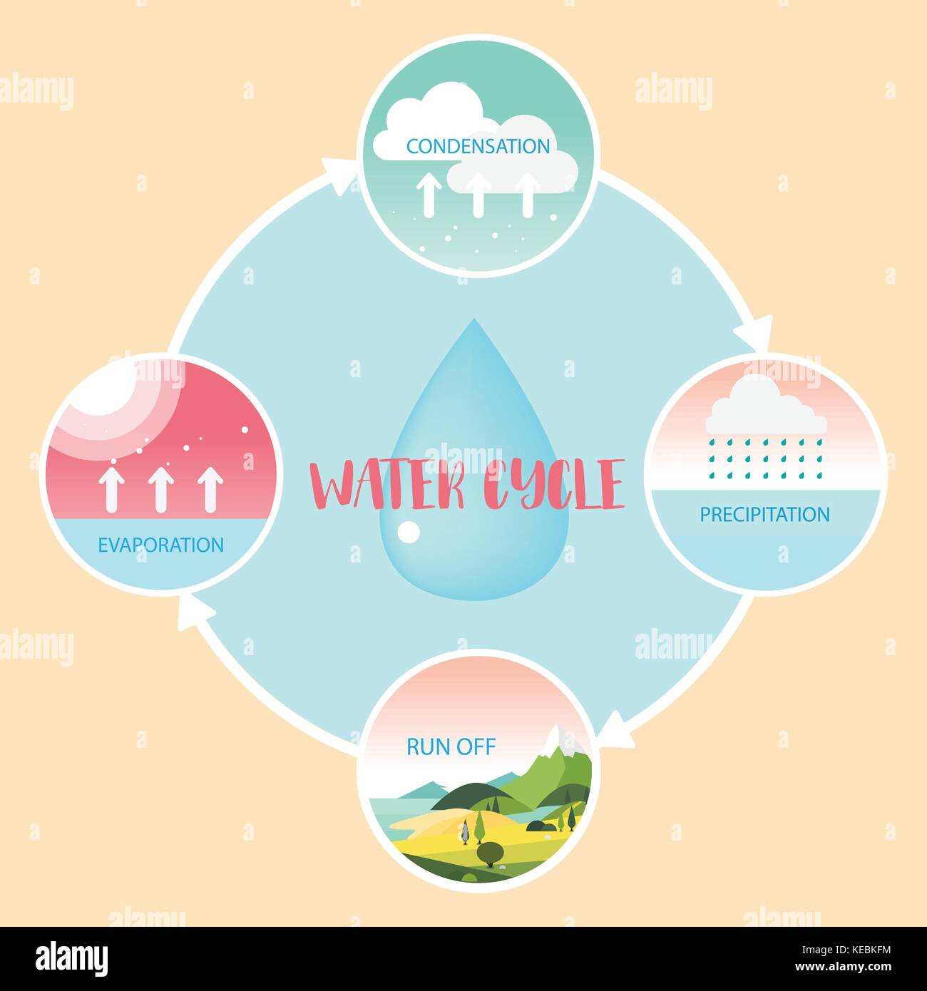 Water cycle information grapic illustration vecter design stock image