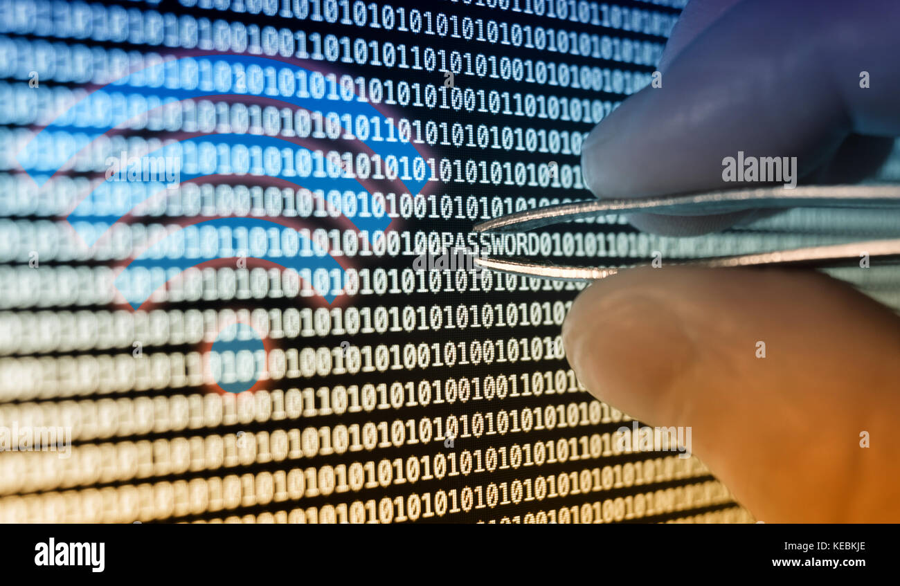 Binary code, Men in the Middle WPA2 wireless Attack 2017 exploit - Stock Image