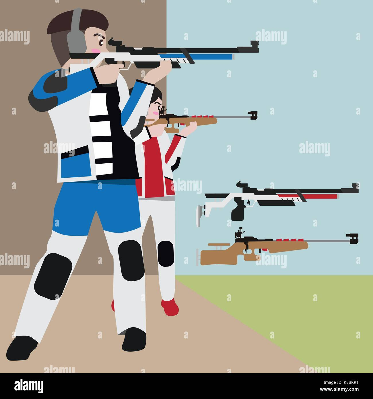 Shooting athletic sport vector cartoon illustration set - Stock Vector