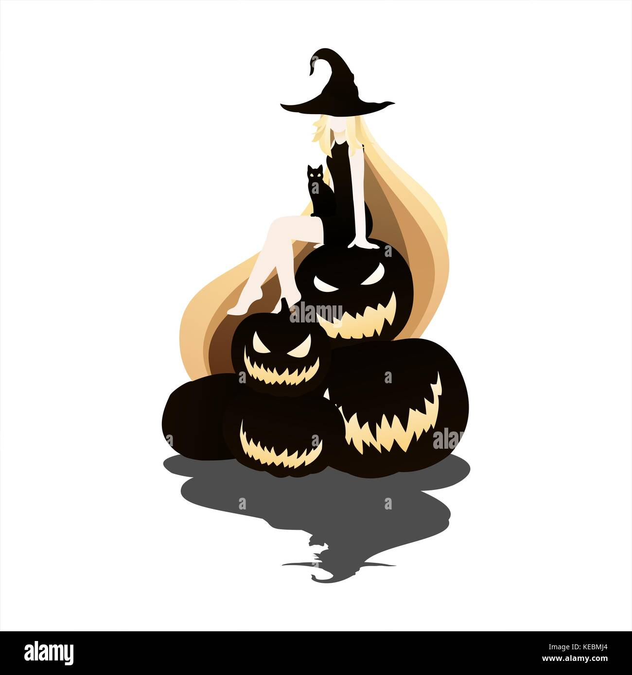 halloween silhouette card background - Stock Image