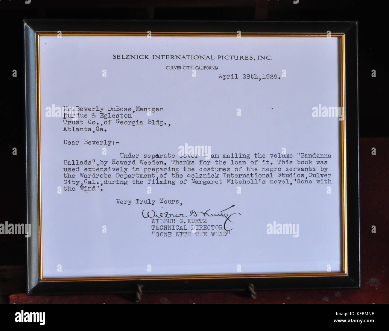 Letter from Selznick International Pictures re: loan of Howard Weeden's 'Bandana Ballads', helpful in - Stock Image