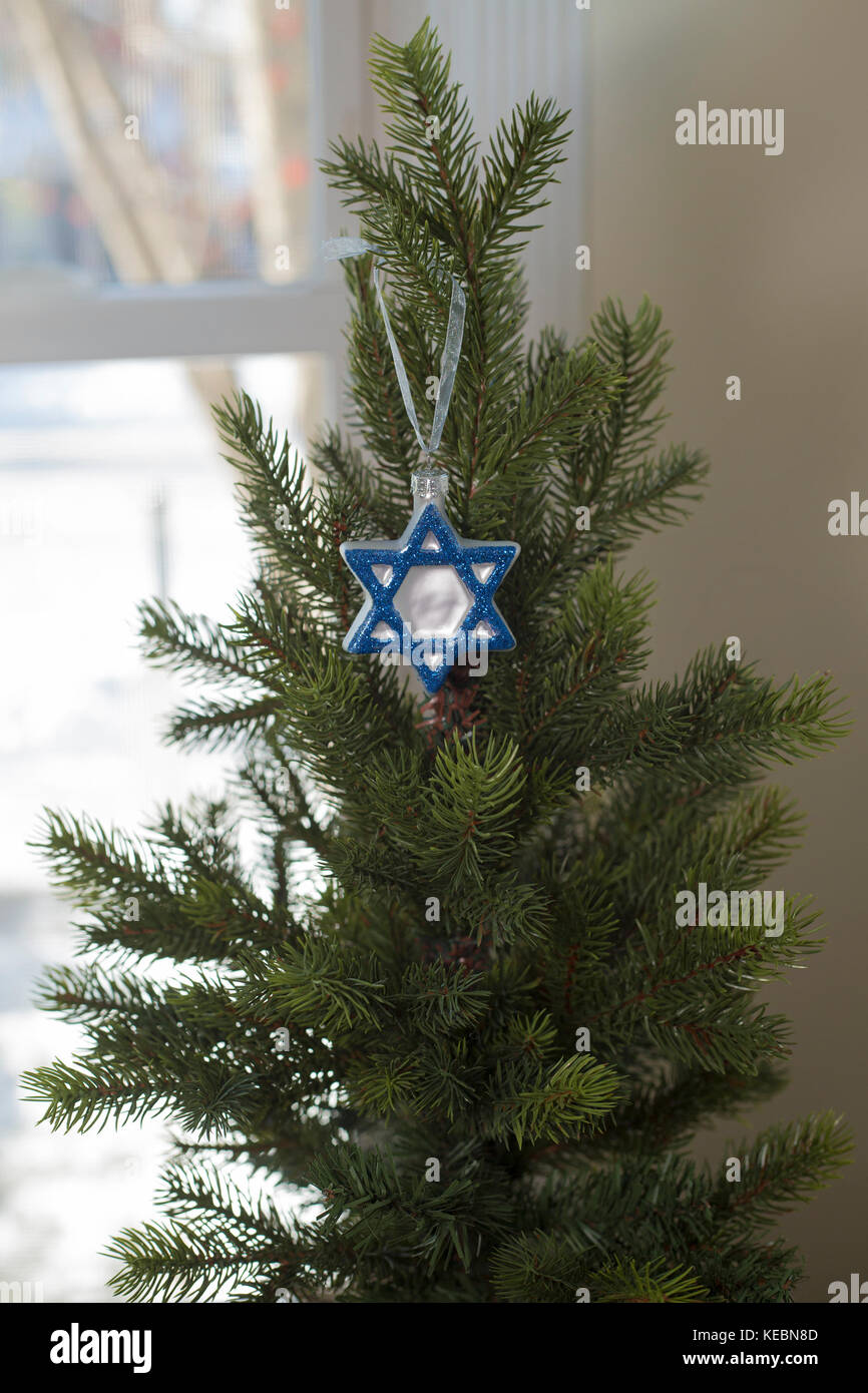 Hanukkah decoration on Christmas tree - Stock Image