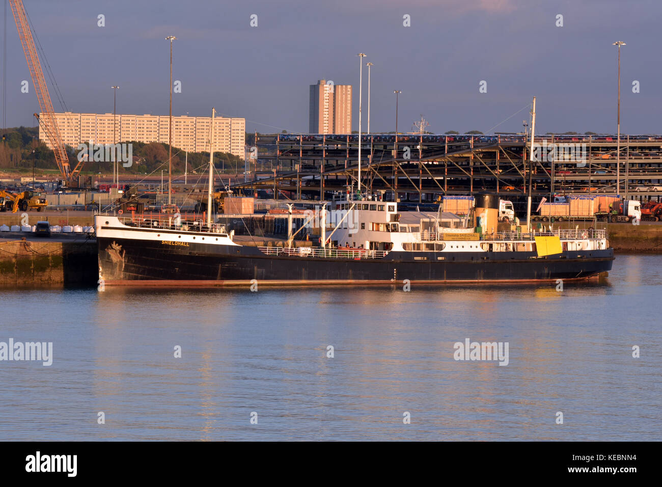 the steamship shieldhall alongside the docks or harbour at Southampton port owned by ABP on Southampton water in - Stock Image