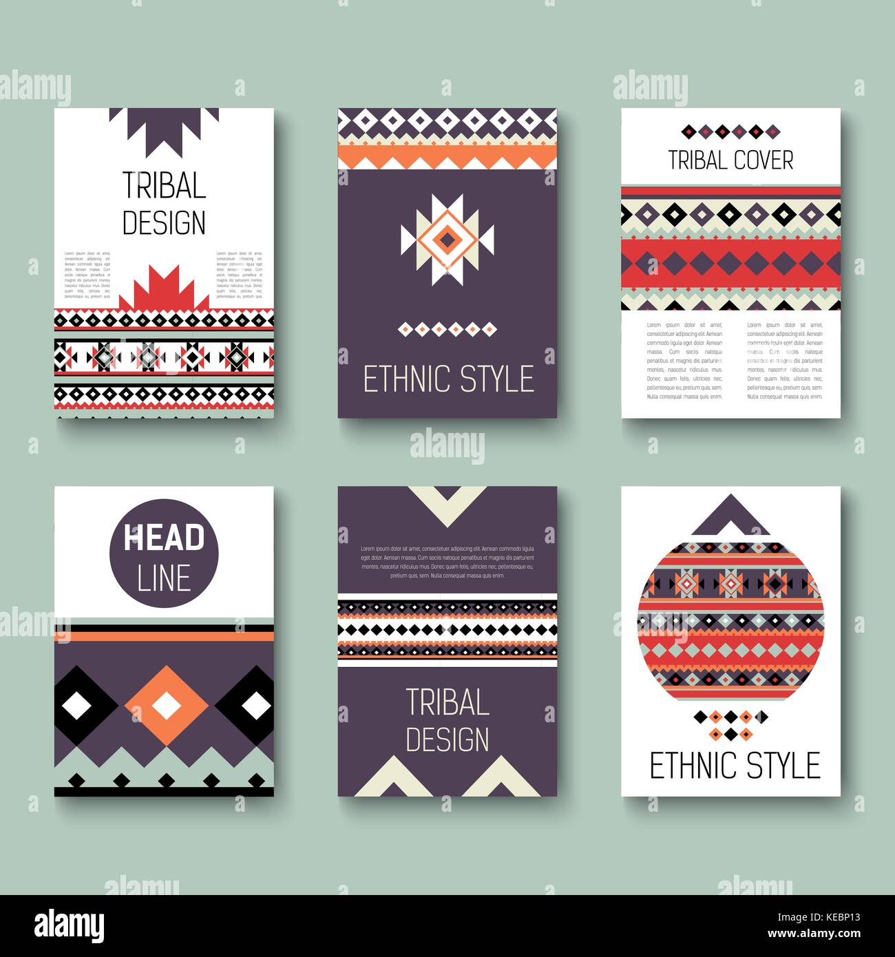 set of geometric abstract colorful flyers ethnic style brochure templates collection of modern tribal cards