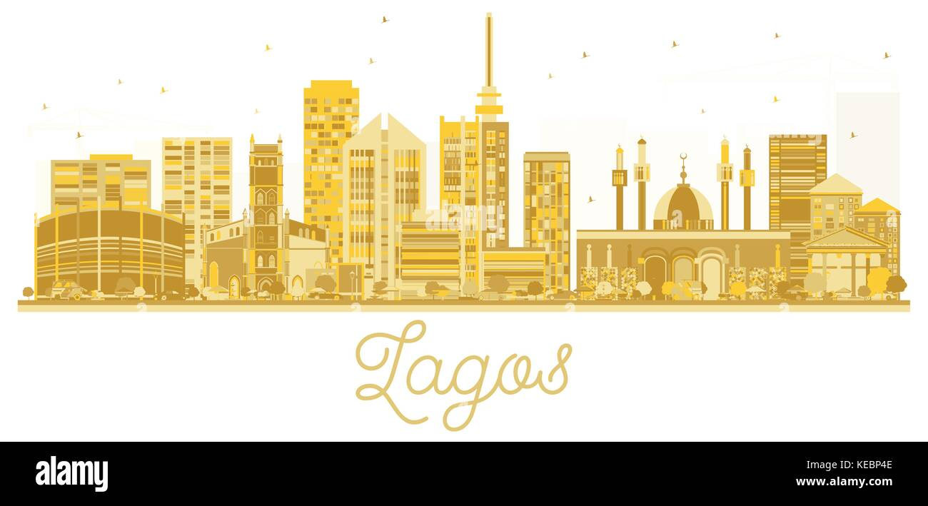 Lagos City skyline golden silhouette. Vector illustration. Business travel concept. Lagos Cityscape with landmarks. - Stock Image