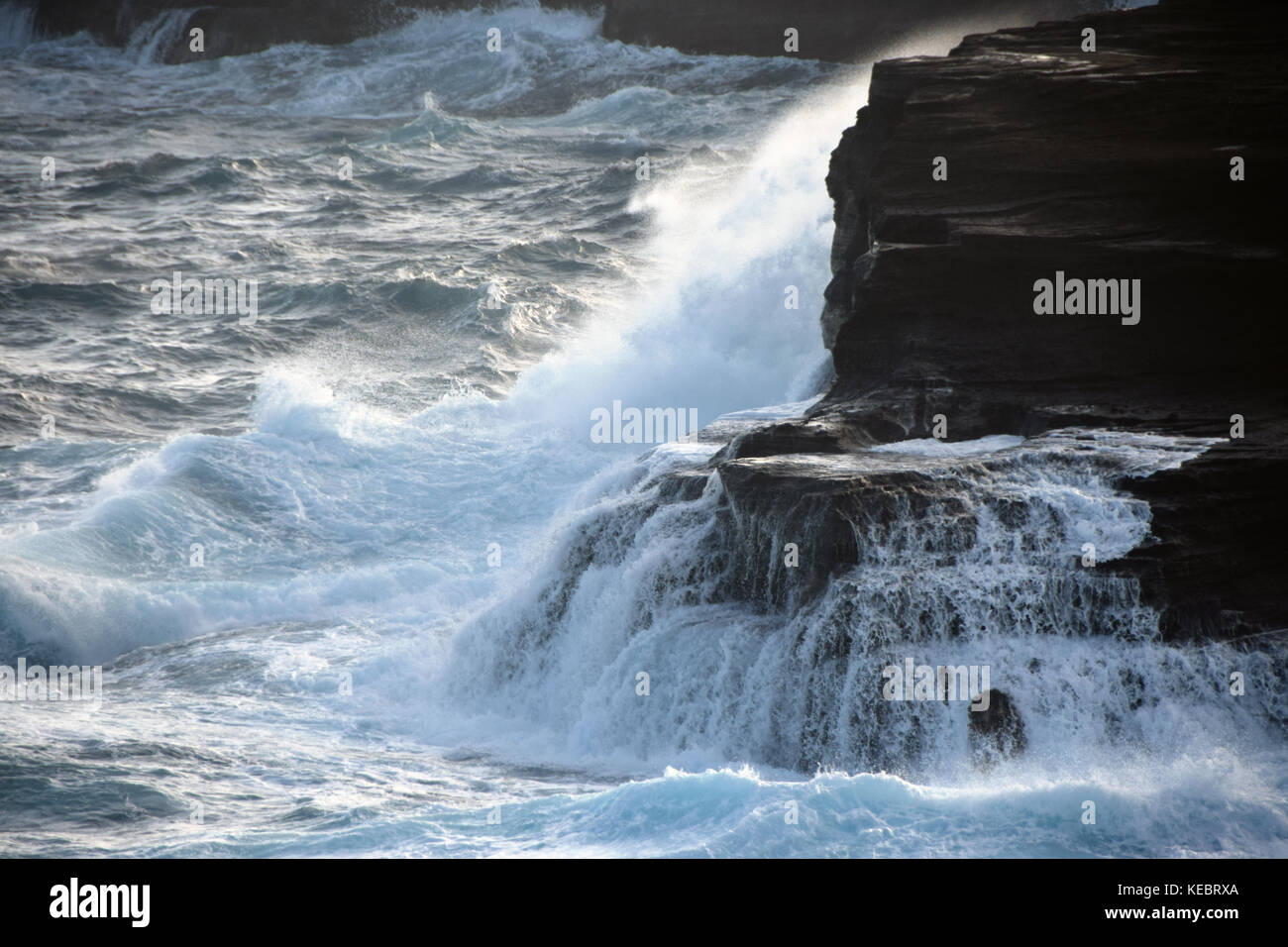 Halona Blowhole in the Southeast corner of Oahu, Hawaii is a natural opening in the rocks that spews water likeStock Photo